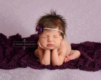 SET Eggplant Purple Ruffle Wrap and Flower Headband Newborn Photography Prop