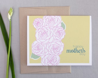 Modern Floral Mother's Day Card / Happy Mother's Day / Pretty Card for Mom / Pink Flowers / Special Card for Mom / Camellia Flower Card