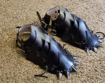 Spikey All-Leather Armor Shoe Spats