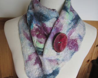 Alpaca Nuno Felted Scarf/Neckwarmer - Handmade from Alpaca and Other Fibers With Coconut Button
