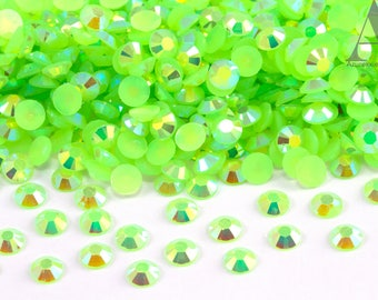 Lime Green Flatback Jelly/Resin Rhinestones for Embellishments and Nail Art 3-6mm