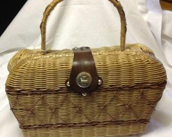 Rattan Bag with Criss Cross Design