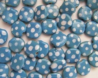 "Kazuri ""Pebbles"" Beads - Twelve (12) - Blue White Dotted"