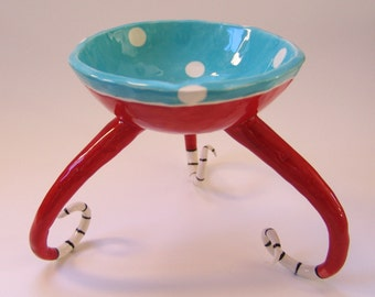 Whimsical pottery Candy Dish with curly black & white stripe feet :) Dr Seuss turquoise red, striped Beetlejuice legs, serving bowl