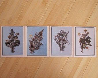 Set of 4 blank Greeting Cards printed from my Original Pressed Flowers Artwork, Thank You Cards, Assorted Cards, Birthday, Invitation Cards