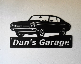 1970 Chevelle - Personalized Metal Sign- Man Cave- Classic - Muscle Car Art -Garage Sign -Satin black- Chevelle Art