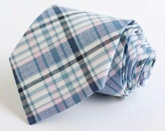 Necktie, Mens Necktie, Neck Tie, Groomsmen Necktie, Ties, Tie, Wedding Neckties, Plaid Necktie - Navy And Blush Plaid