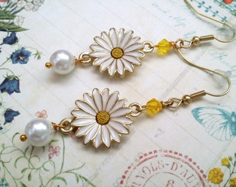 """Gold Daisy Earrings """"Fresh Morning Daisies"""" Yellow and White Drop Dangle Earrings Daisies Jewelry"""