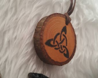 Triquetra pendant natural pecan raw wood pagan wiccan wicca celtic pagan jewelry