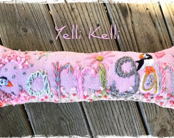 Freehand Embroidered Bohemian Letters Name Pillow Custom Made EIGHT  LETTERS YelliKelli