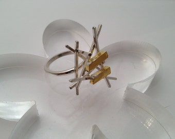 "SALE  Sterling silver Handmade gold leaf ring ""Opus"""