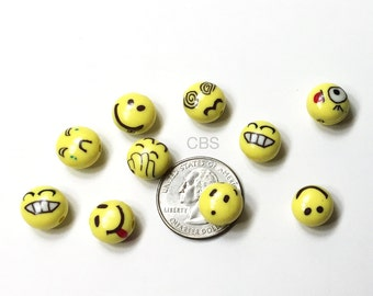 Yellow Emoji Face Beads. You choose the quantity 10-50. Yellow smiley face beads. Emoji supply beads. Emoji jewelry making supplies.