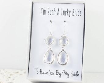 Long Crystal Silver Teardrop Earrings, April Birthstone Earrings, Clear Silver Earrings, Bridesmaid Earrings, Crystal Wedding Jewelry