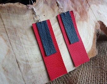 Unique real leather geometric style red and navy blue drop earrings - dangly / hook / silver plated