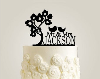 Love Birds Cake Topper - Custom Wedding Cake Topper Personalized with Your Last Name, Mr and Mrs Cake Topper with Unique Tree Silhouette