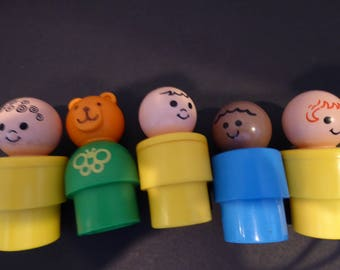 Vintage Fisher Price BIG Little People  1974  to 1984 Collection of FIVE Figures Lot B