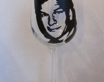 Hand Painted Wine Glass - PATRICK SWAYZE, Actor