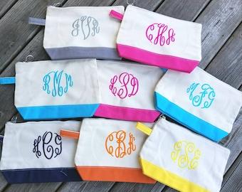 Monogrammed Cosmetic Bag,Monogrammed makeup bag, Monogrammed Bridesmaids Gifts, Personalized Makeup Bag, Personalized cosmetic bag - CB01