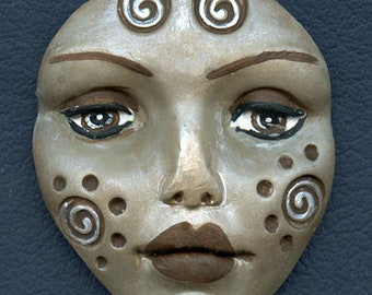 Polymer Clay Large Gray Pearl  Detailed Tribal Face  Un Drilled LGTR  1