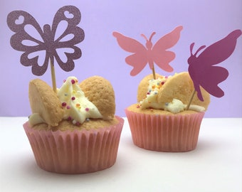 Butterfly cupcake toppers, perfect for butterfly parties. Party décor, cupcake topper, birthday topper, butterfly topper, butterfly birthday
