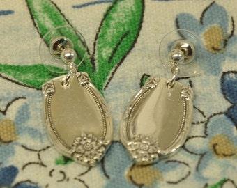 Remembrance Silver Post Spoon Earrings