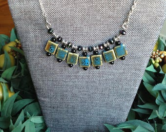 Ceramic Bead Necklace/Blue/Black/ Silver beads and chain