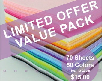 Limited Offer Value Pack 70 Sheets 50 Colors - 10cm x 20cm