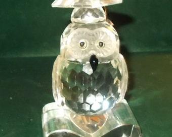 Crystal Owl Carved Irish Crystal Owl Graduation Shannon Owl Wise Owl Black Bead Eyes Beak Owl Figurine