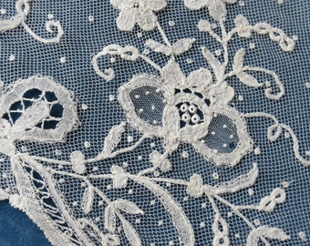Antique Hand Made Applied Brussels Lace  Trim- 170 x 26 cm