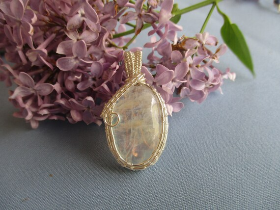 Moonstone Cabochon Wire Wrapped Pendant Necklace N517181