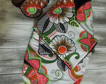 the PEANUT POD baby swaddle and hanky bib - a wrap blanket swaddler -  Soft & Cozy - Ready To Ship - Island life - green, black, orange