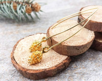 Gold Pine Cone Earrings, Long Dangle Drop Pine Cone Earrings, Pinecone Jewelry, Fall Autumn Winter Woodland Jewelry, Gift For Her