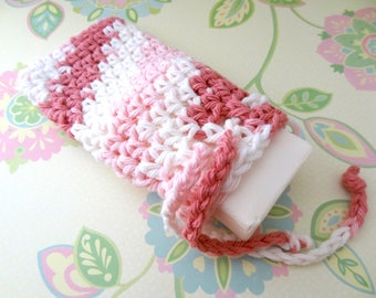 Crochet Pink and White Saver Bag/Pouch, Soap Sack with Drawstrings - 100% Cotton - Ready to Ship