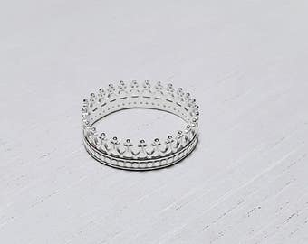 Crown ring, silver princess ring, stacking ring, Queen ring, sterling silver jewellery