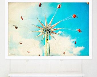 Boardwalk Carnival Photography // Theme Park Photography // Nostalgic Boardwalk Carousel Print // Kids Room Art // Nursery Wall Art
