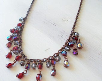 Inspirational necklace, Boho necklace, with ruby red and gray glass beads and brunette chain, colored glass bead necklace