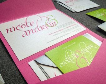 "Pink and Green Invitation, Hot Pink Bat Mitzvah Invites, Preppy Invitation, Lime Destination Wedding - ""Dramatic Script"" PF-NL-v3 SAMPLE"