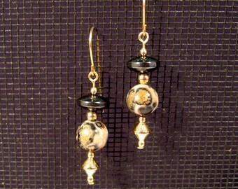 Gold-filled Leopardskin Jasper and Hematite Earrings
