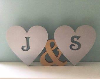 Free standing heart initials