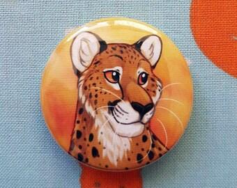 Cheetah 38mm Badge, Button, Pin, Steel-backed, Cat, Leopard, Jaguar