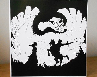 Silhouette Greeting Card - St George and the Dragon No.2