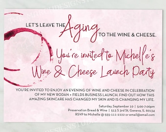 Rodan and Fields Invitation, Digital Invitation, Custom Invitation, Business Launch, Leave the Aging to the Wine and Cheese