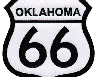 ROUTE 66 OKLAHOMA PATCH iron-on embroidered Road Sign Historic Highway Emblem biker applique