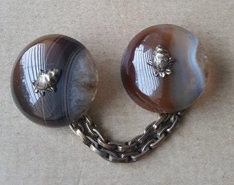 Vintage Cape Cloak Clasp Scottish Agate Thistle Motif Celtic Cape Clasp Chain
