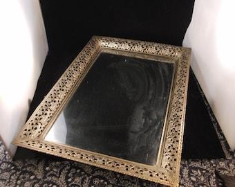Vintage Victorian style metal mirror tray/vanity