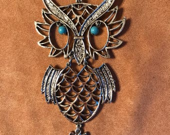 Owl with turquoise eyes