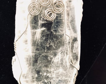 Rough Selenite in silver tone wire