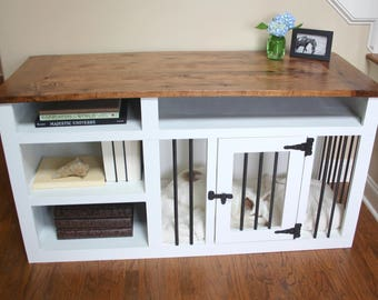 Made to Order Custom Built Dog Crate Furniture, Dog Kennel Furniture, Solid Wood with Shelves, Dog Crate TV Stand, Dog Kennel Table. Pet bed