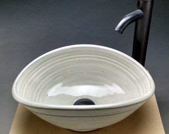 """Custom Handmade Pottery Oval Vessel Sink 18""""-19""""W x 12""""-14"""" D x 5""""-7""""H Unique Creative Design For Your Bathroom Remodeling """"Made To Order"""""""