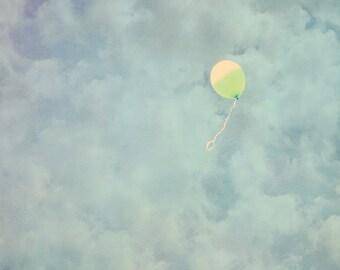 Balloon Photo - 8x10 photograph  - fine art print - vintage photography - whimsical nursery art  - balloon art - clouds